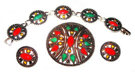 "Emmons Bracelet Earring Brooch Parure Set ""African Queen"" Signed Coral G... - €37,47 EUR"