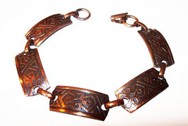 "Panel Link Tribal Bracelet Solid Copper Geometrics South Western 7 3/4"" ... - $25.00"