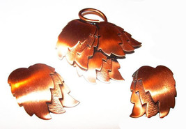 Copper Brooch Demi Set Clip On Earrings Layered Leaf Design Autumn Jewel... - $35.00