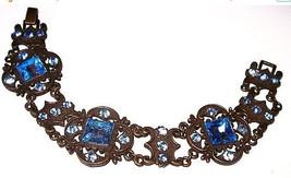 Goth Victorian Link Bracelet Blue Princess Rhin... - $35.00