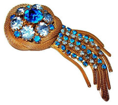 "Blue Tassel Brooch Pin Rhinestones Gold Mesh Trim & Dangles BIG 3 3/4"" V... - $35.00"