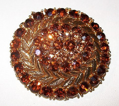 Lisner Brooch Pin Topaz Rhinestones Designer Signed Domed Layered High F... - $34.50