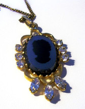 Coro Cameo Pendant Necklace Signed AJC 1/20th 12K GF Gold Chain Rhinesto... - $35.00