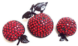 Weiss Apple Brooch Earring Demi Set  Red RhinestoneBlack Japnned Metal V... - $34.50