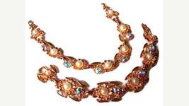 Coro Necklace Bracelet Demi Set AB Rhinestone & Faux Pearls Rose Gold Hi... - €20,34 EUR