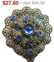 Art Deco Brooch Pin Blue Rhinestones Filigree Lacy Silver Metal Layered ... - $34.50