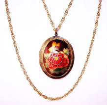 Hobe Locket Pendant Necklace Double Gold Chains Red Roses Cloisonne Enam... - $34.50