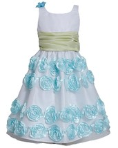 Little Girl 2T-6X Mint-Blue White Crinkle Mesh Bonaz Rosete Dress,Bonnie Jean