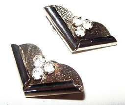 "Art Deco Clip On Earrings Clear Ice Rhinestones Silver Metal 1.5"" Vintage - $12.50"