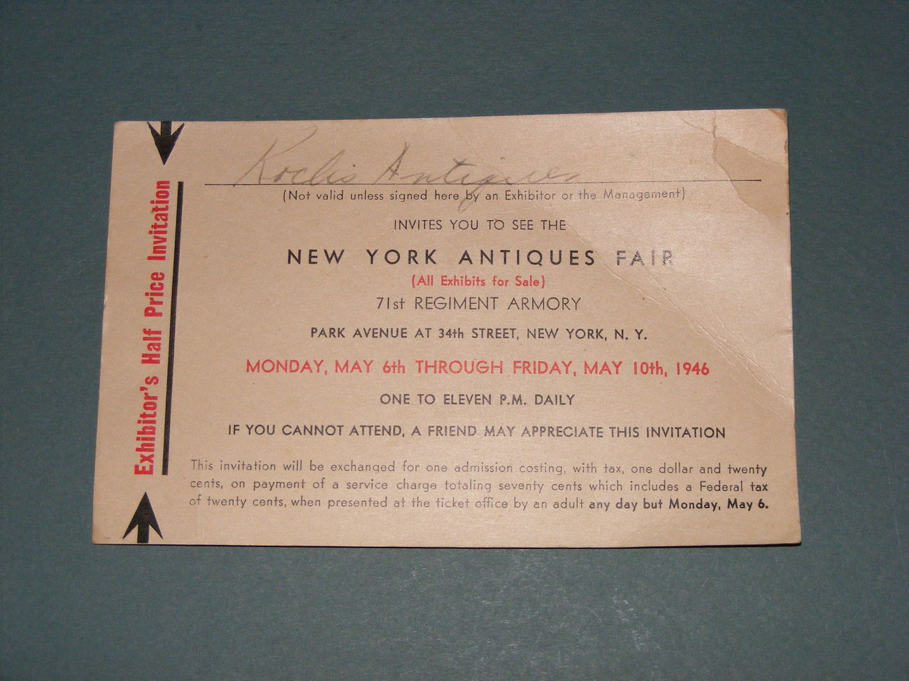 1946 new york antiques fair admission ticket county