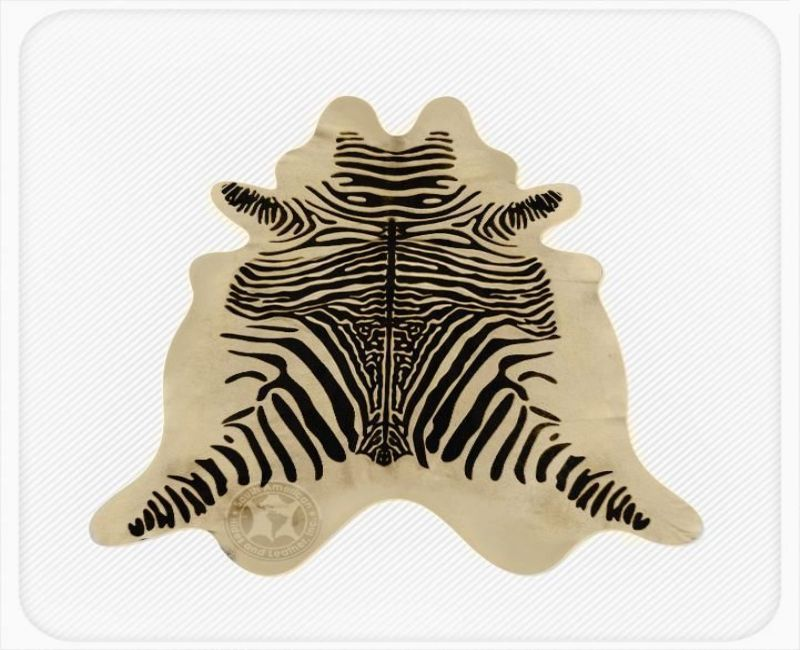 Zebra Print Cowhide Spinal Black on Light Beige