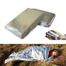 2X Emergency Rescue Safety Survival Foil Thermal Tent Blanket - Silver  ... - $10.64