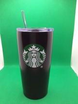 Starbucks Black Stainless Steel Tumbler 20oz. 2017 Plastic Lid Green Sir... - $19.95