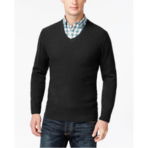 Club Room Diamond-Knit Pattern V-Neck Sweater Black X-Large - £14.43 GBP