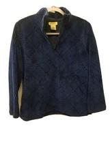 Talbots Petites Pullover Sweatshirt Blue Ladies Half Zipper S - $16.80