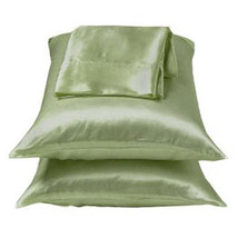 Sage/Green Lingerie Satin Pillowcase Set Standard Queen - $9.99