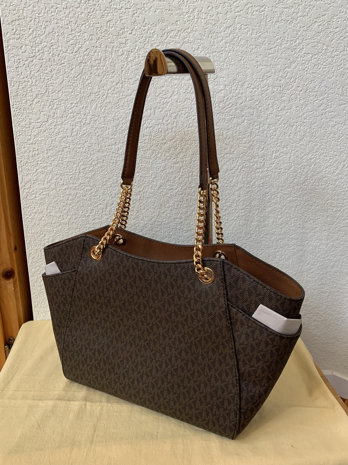 $378 NWT Michael Kors Brown Jet Set Travel Large Chain Tote
