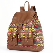 Mudd® Tribal Print Backpack Canvas Faux Leather Women's Girls - NWT - $32.19
