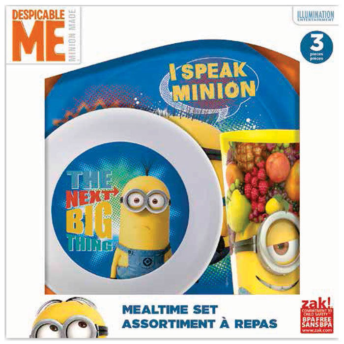 Primary image for Despicable Me Minions ZAK 3 Piece Mealtime Dish Set Plate Cup Bowl  -  NIB