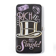 Monopoly Rich and Single Hardcase Wallet Women's Black Faux Patent Leath... - $22.99