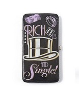 Monopoly Rich and Single Hardcase Wallet Women's Black Faux Patent Leath... - $22.99