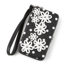 Black & White Polka Dot and Daisy Smartphone Wristlet Wallet iPhone 5 5s... - $17.23