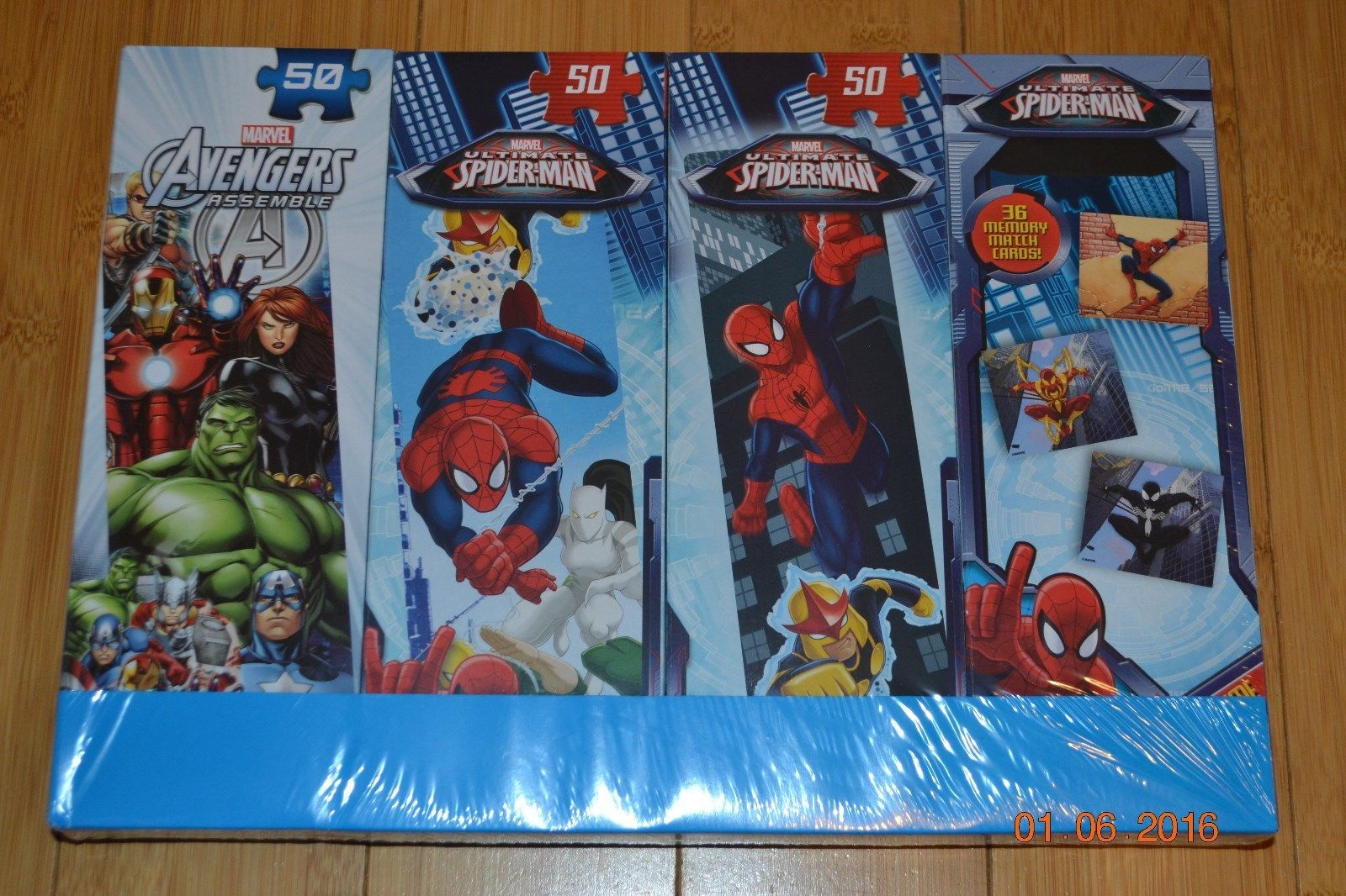 Primary image for Marvel Avengers Assemble & Spiderman 3 Tower Puzzles & Memory Match - NIP
