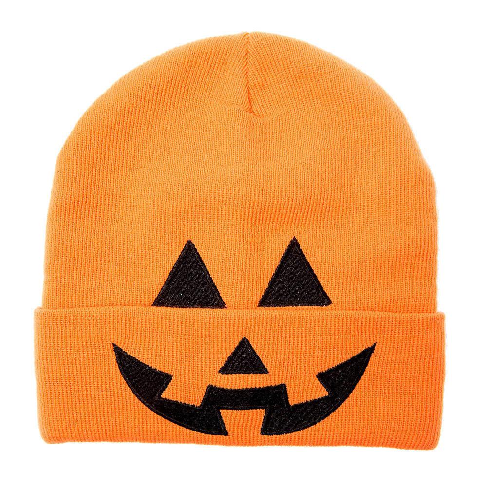 Halloween Jack-O-Lantern Beanie Hat Orange Pumpkin - NWT