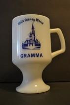 "Walt Disney World ""Gramma"" Pedestal Glass Cup Mug Milk White Blue Print Castle - $21.23"