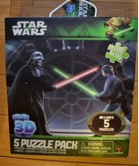 "Star Wars Super 3D 5 Puzzle Pack 12"" X 9"" & 9"" X 6"" Jigsaw Puzzles 2013 ... - $23.59"