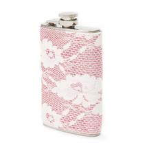 Blush and Ivory Glitter Floral Lace Flask Drinking Alcohol - New - €20,69 EUR