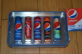 Pepsi 5 Flavored Lip Gloss Balm Set in Tin - NEW - $15.33