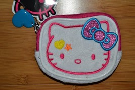 Hello Kitty Coin Purse White Plush Pink Glittery Bow - NEW - $15.46