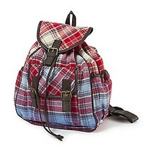 Womens Girls Plaid Backpack with Faux Leather Trim - NWT - $29.74
