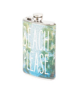 Beach Please Glitter Flask Palm Trees Drinking Alcohol - NEW - $23.59
