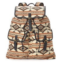Mudd Rachel Tribal Print Backpack School Book Bag Tan Brown - NWT - $53.54