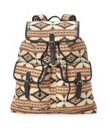 Mudd Rachel Tribal Print Backpack School Book Bag Tan Brown - NWT - $53.54
