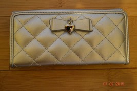 Silver Quilted Wallet with Bow and Heart Charm - NWT - $16.64