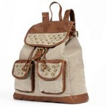 Mudd Canvas Faux Leather Studded Backpack Women's Girl's Retail $65.00- NWT - $47.99