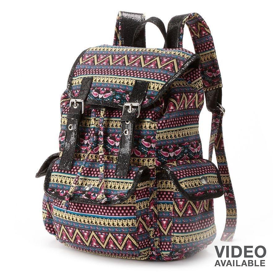 Can S Black Aztec Glitter Backpack Shoulder Book Bag School Nwt 53 99