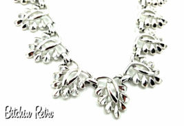 Coro Silver Leaf Necklace & Earrings, Demi Parure Abstract  Vintage   - €28,45 EUR