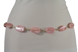 Women Gold Metal Chain Fashion Belt Hip High Waist Paster Pink Color Beads S M L - $14.69