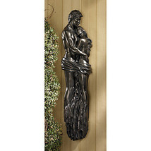 A Lover's Romantic Embrace Curves and Muscles Nude Bronze Finish Wall Sc... - $197.95