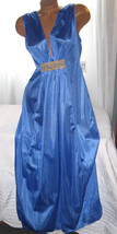 Long Nightgown Blue with Gold Accent 1X Grecian Style Plus Size Lingerie - $25.00