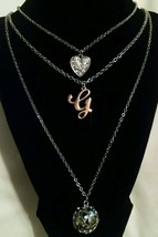 NEW GUESS Rhinestone G Silver Gold Heart Necklace Orig 45.00 - $22.09