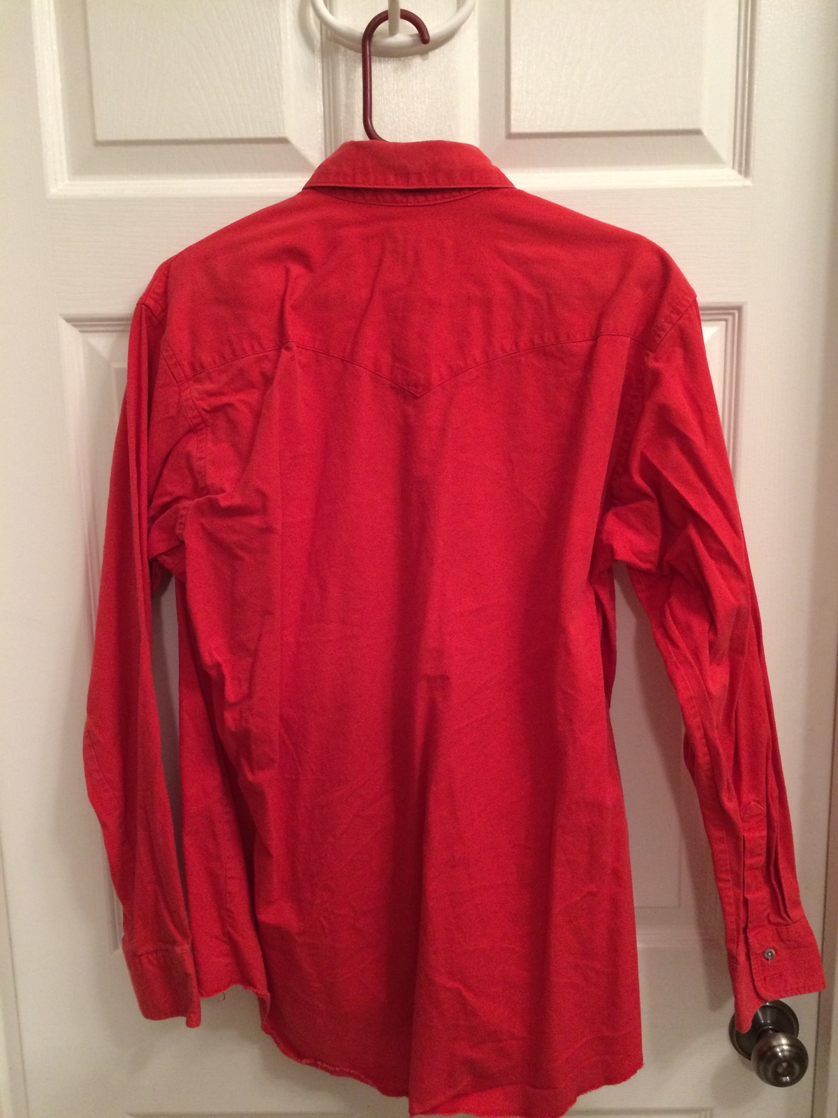 Vintage wrangler western cowboy long sleeved shirt men 39 s large red button up dress shirts for Mens red button up dress shirt