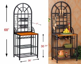 Bakers Rack Kitchen Dining Area Metal Art Deco Style Organization Accomm... - $168.90