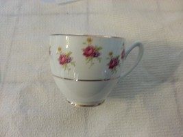 Ceramic Porcelain  Tea coffee  Cup  with pink and purple flowers made in... - $13.98