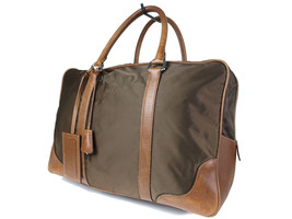 Authentic PRADA Nylon Canvas Leather Khaki Boston Bag PB13593L - $169.00