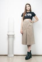 70s vintage vegan leather beige skirt - $38.09